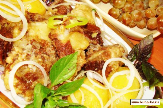 Рецепт Телятина тушеная в молоке с картошкой