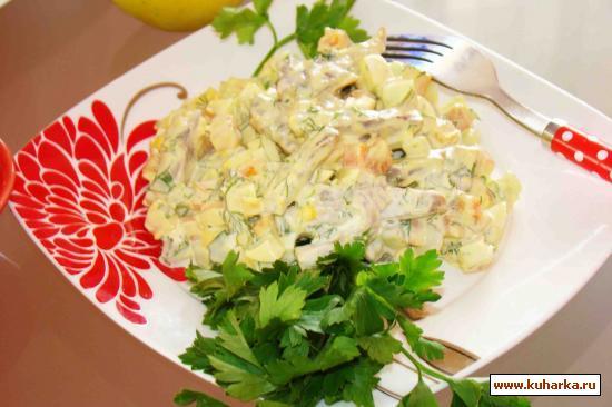 Рецепт Язык с овощами и отварным яичком