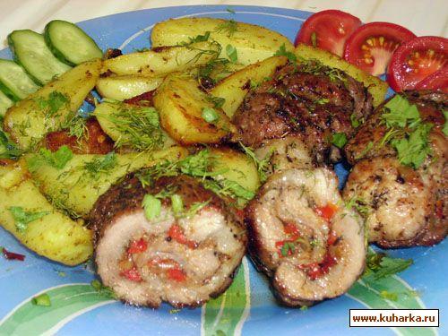 Рецепт Рулетики из свинины с болгарским перцем
