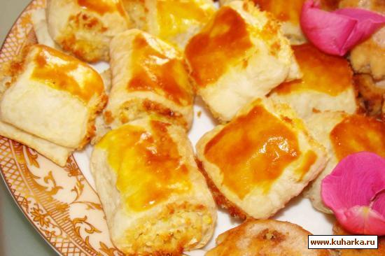 Рецепт Печенье из слоеного теста с кокосовой стружкой