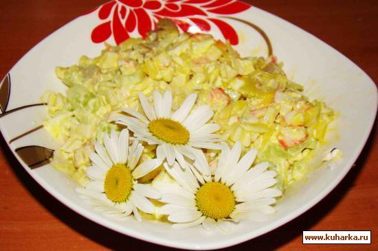 Рецепт Салат крабовый с маринованными грибами