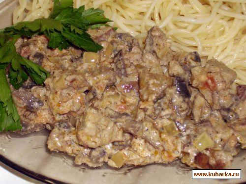 Рецепт Спагетти с куриной печенью