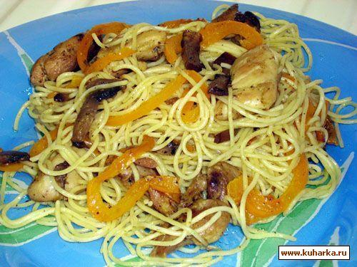 Рецепт Спагетти с курицей и грибами