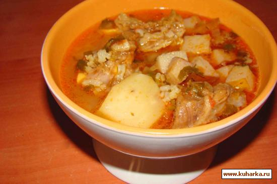 Рецепт Мясной суп с айвой