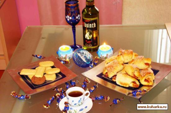 Рецепт Рогалики из творожного теста с вареньем