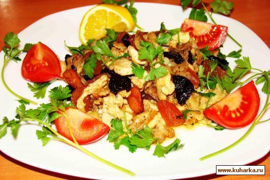 Рецепт Мясо индейки с курагой и черносливом