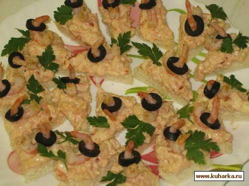 Рецепт Канапе с креветками