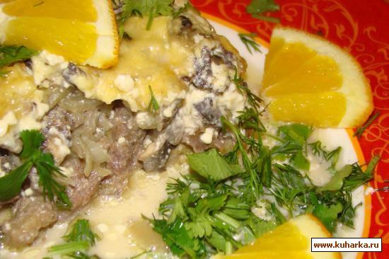 Рецепт Мясо с сыром и грибами с апельсиновым соком