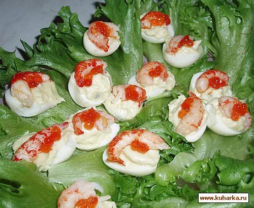 Рецепт Перепелиные яйца с креветками