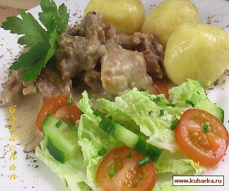 Рецепт Schweinegeschnetzeltes mit Kartoffelkloesse/Жаркое из свинины и картофельные клёцки