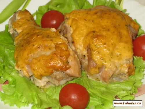 Рецепт Сырные окорочка под чесночным соусом