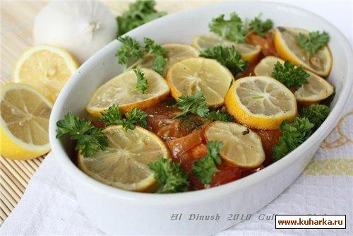 Рецепт Запеченая рыба с помидорами и лимоном