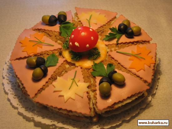 """Рецепт Бутербродный торт """"Осень"""""""