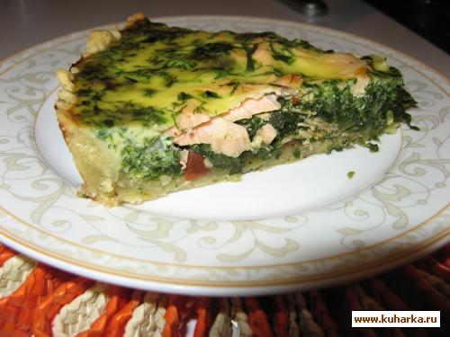 Рецепт Киш с шпинатом и форелью