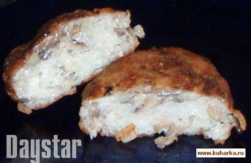 Рецепт Рыбные котлеты с грибами и рисом