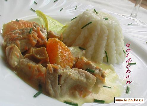 Рецепт Свинина в апельсиновом соусе/Geschnetzeltes a` l`Orange