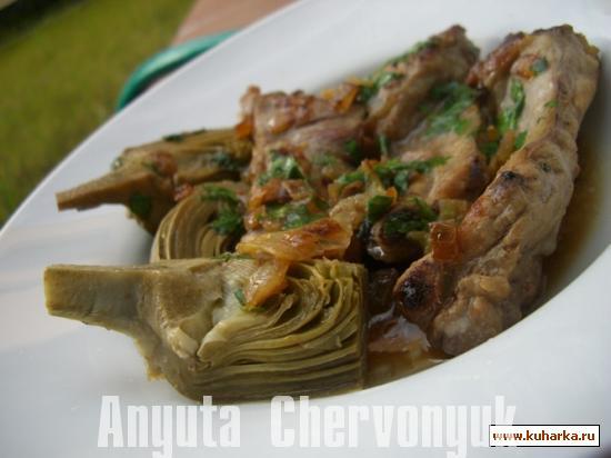 Рецепт Артишоки с рёбрышками (Alcachofas con costillas)
