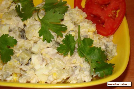 Рецепт Салат куриный с сухариками