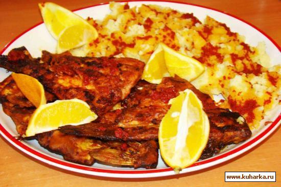 Рецепт Жареная рыба под соусом из помидор