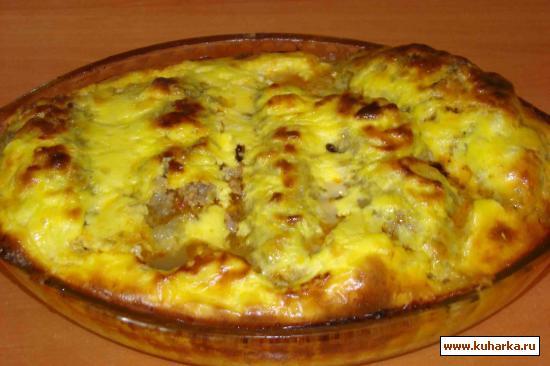 Рецепт Запеканка из фарша с начинкой и пюре из картошки