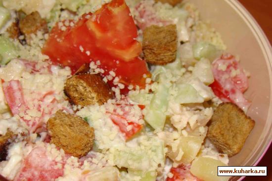 Рецепт Салат из куриного мяса с овощами и сыром пармезан