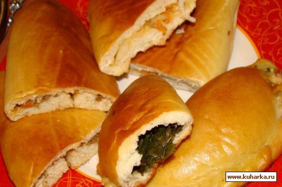 Рецепт Пирожки на дрожжевом опарном тесте с несколькими видами начинок