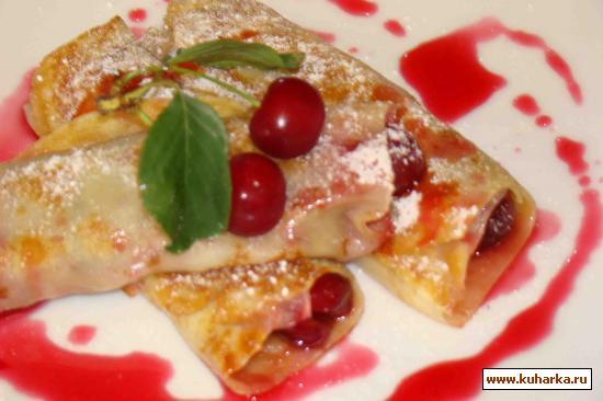 Рецепт Блинчики с вишней и вишневым сиропом