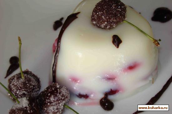 Рецепт вишневый пудинг с шоколадными вишенками