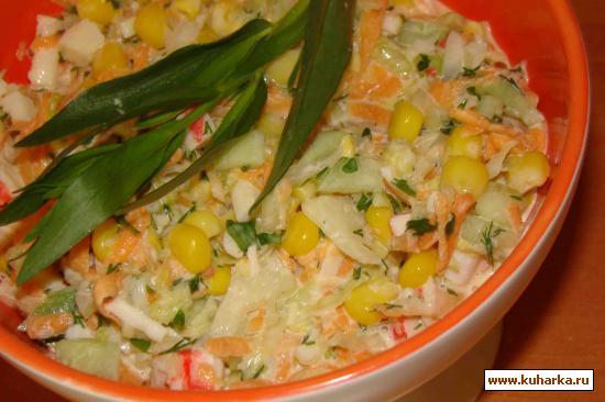 Рецепт Салат из капусты и крабовых палочек