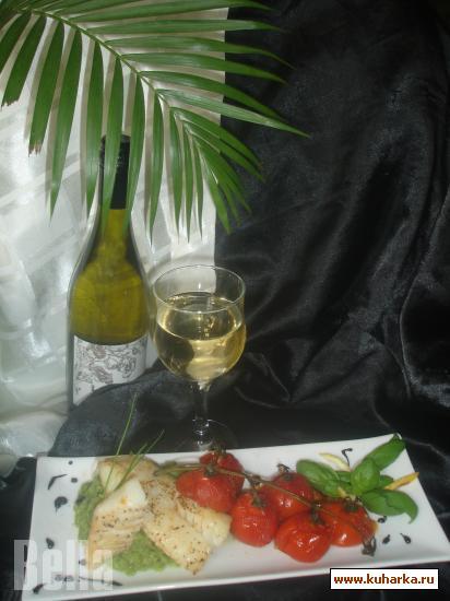 Рецепт Запечённое филе Трески и пюре из зелёной фасоли с ароматом базилика