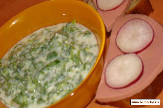 Рецепт Салат из зелени и гатыга (мацони, кефира)