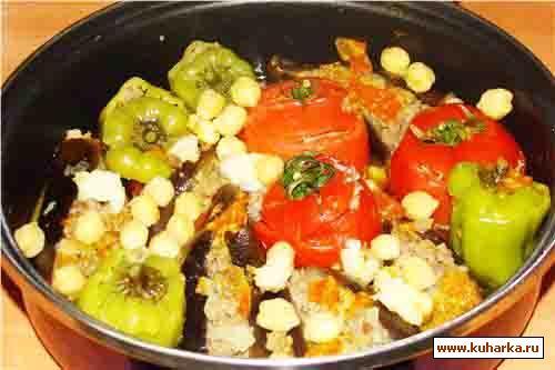 Рецепт Бадымчан,бибар, помидор долмасы (долма из баклажан, помидор и болгарского перца) национальное блюдо