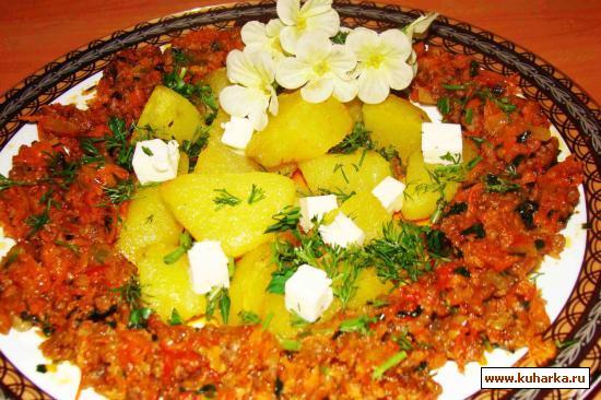 "Рецепт Фарш с овощами, гарнир ""ароматная картошка"""
