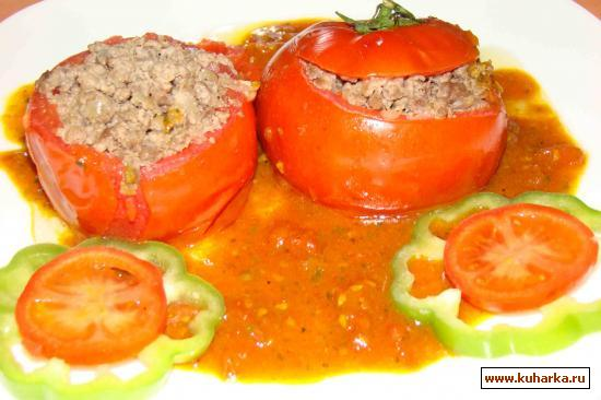 Рецепт Помидоры с фаршем в пикантном соусе
