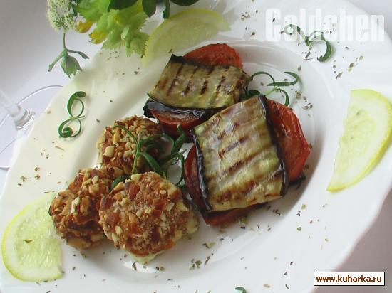 Рецепт Фета в орехово-лимонной панировке и баклажанные квадратики