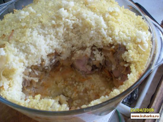Рецепт Курица запеченная с пшеном и кислой капустой