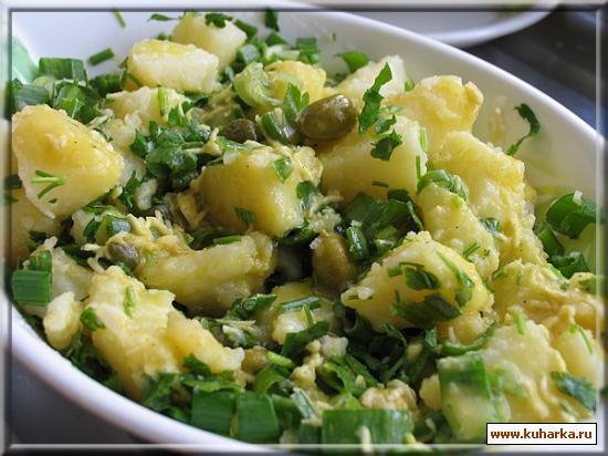 Рецепт Салат из картофеля, оливок и каперсов с лимонно-укропной заправкой