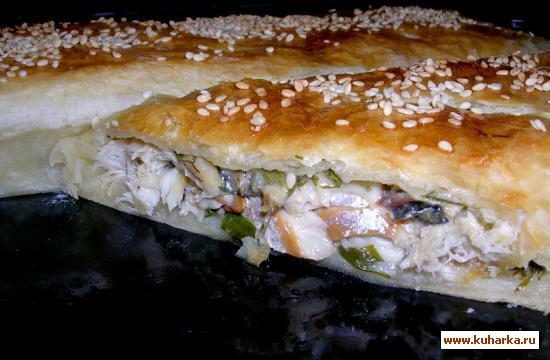Рецепт Пирог со скумбрией, сыром и зеленью