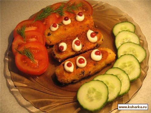 Рецепт Картофельные колбаски с грибами и луком