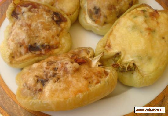 Рецепт Перец, фаршированный картофельным пюре, с грибами и сыром