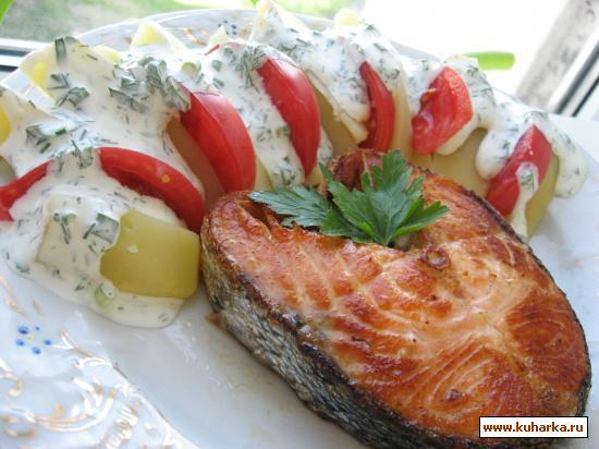 Рецепт Лосось терияки с картофельным салатом.