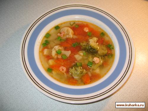 Рецепт Пестрый суп с креветками