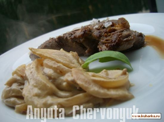 Рецепт Говядина с луком (Solomillo con dulce de cebolla)