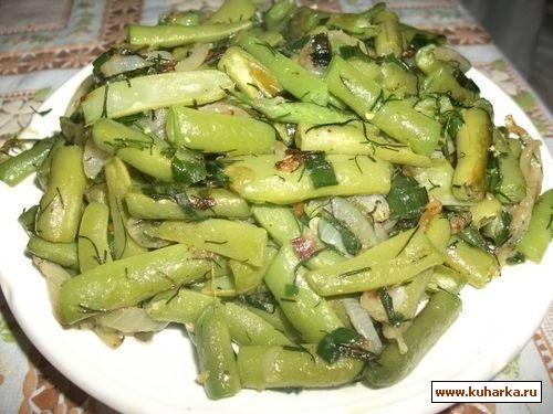 Рецепт Спаржевая фасоль жареная с луком и зеленью