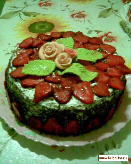 Рецепт Бисквитный торт со свежими фруктами