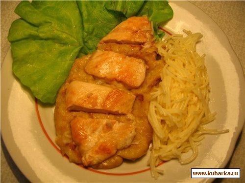 Рецепт Куриное филе с бананово-горчичным соусом