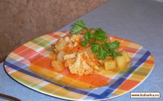 Рецепт Кабачок тушёный с цветной капустой.