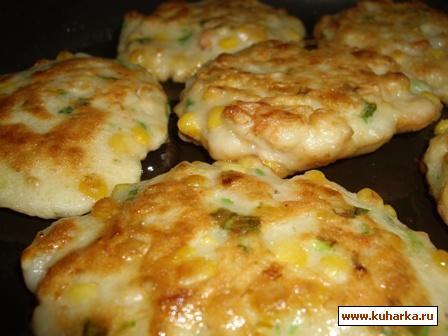 Рецепт Оладьи с креветками и кукурузой