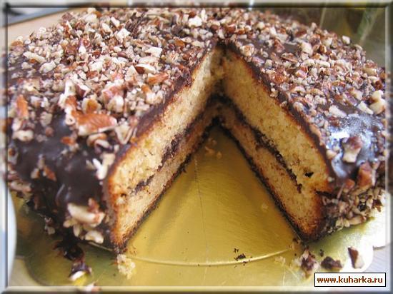 Рецепт Банановый кекс с шоколадным ганашем и грецкими орехами