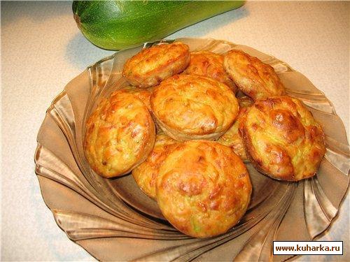 Рецепт Кабачковые кексы с луком и беконом